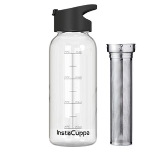 InstaCuppa BPA Free Borosilicate Glass Infuser Water Bottle 1000 ML with Flip Top Sipper Lid, Full Length Stainless Steel Infuser, Innovative Hydration Reminder Time Markings and Neoprene Sleeve for Extra Protection