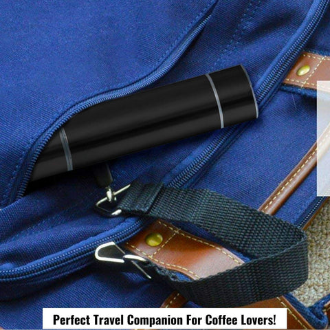 InstaCuppa Travel Milk Frother Coffee Beater, Handheld Battery Operated Whisker with Stainless Steel Protective Casing