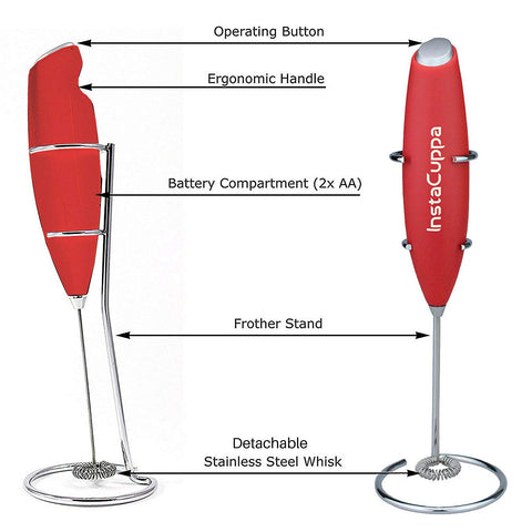 InstaCuppa Handheld Battery Operated Milk Frother / Coffee Beater, Red Color - Technical Specifications