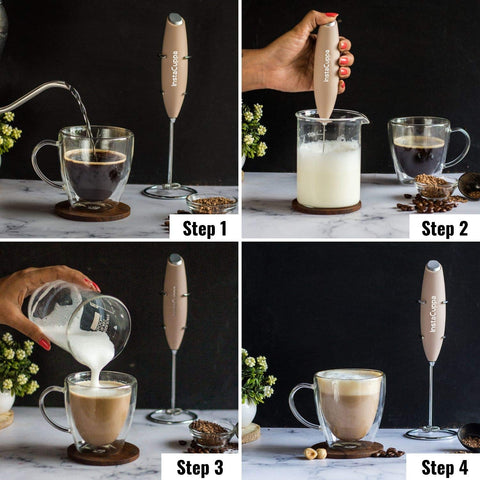 Image of InstaCuppa Handheld Battery Operated Milk Frother / Coffee Beater, Rose Gold Color - How To Make A Cappuccino?