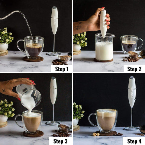 Image of InstaCuppa Handheld Battery Operated Milk Frother / Coffee Beater, White Color - How To Make A Cappuccino?