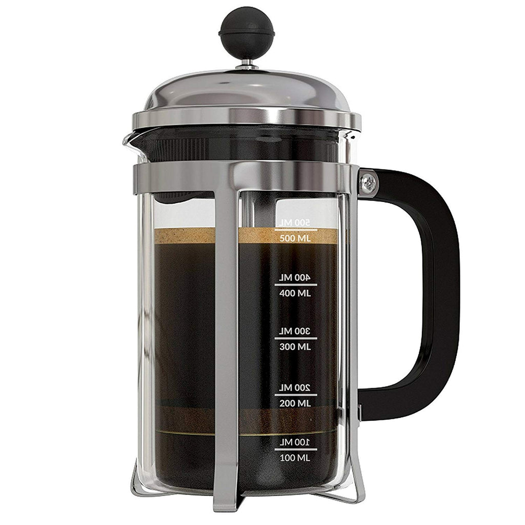 InstaCuppa French Press Coffee Maker with 4 Part Superior Filtration, Premium Grade Stainless Steel Coffee Plunger,