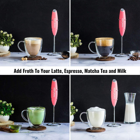 InstaCuppa Handheld Battery Operated Milk Frother / Coffee Beater, Pink Color - Add Froth To Your Latte's, Cappuccino's, Espresso, Matcha Tea and Milk In Just 15 to 20 Seconds