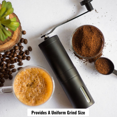 InstaCuppa Manual Hand Coffee Bean Grinder with Ceramic Burr - Provides An Uniform Grind Size, Black Color