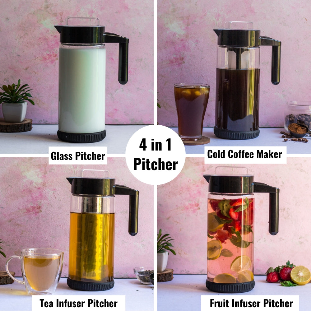 InstaCuppa Borosilicate Glass Infuser Pitcher 1300 ML - 4 in Multipurpose Pitcher - Cold Brew Coffee Maker, Tea Infuser Pitcher, Fruit Infusion Pitcher, Glass Pitcher