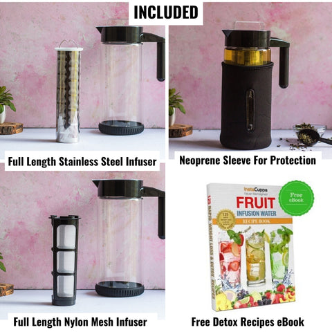 Image of InstaCuppa Borosilicate Glass Infuser Pitcher 1300 ML with Free Accessories - Steel Mesh Infuser, Nylon Mesh Infuser, Neoprene Protective Sleeve, Detox Recipes eBook