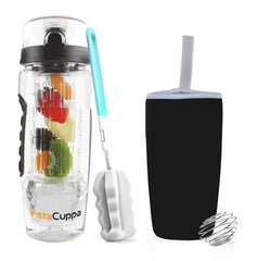 InstaCuppa Fruit Infuser Water Bottle 1 Litre, Tritan Infusion Unit with Ice Gel Ball, Detox Infused Recipe eBook, Carry Sleeve Cover (Black)