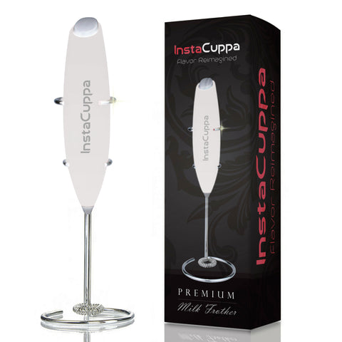 InstaCuppa Premium Handheld Milk Frother with Stand - Battery Operated Coffee Beater, White Color