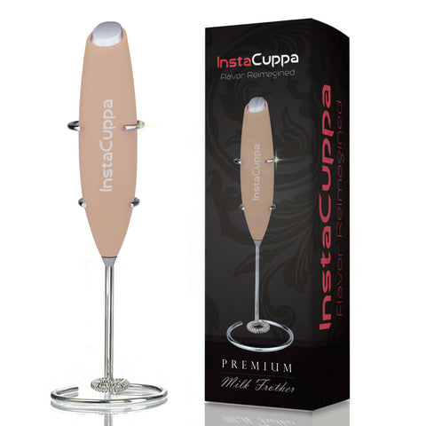 Image of InstaCuppa Premium Handheld Milk Frother with Stand - Battery Operated Coffee Beater, Rose Gold Color