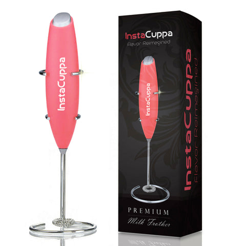 Image of InstaCuppa Premium Handheld Milk Frother with Stand - Battery Operated Coffee Beater, Pink Color
