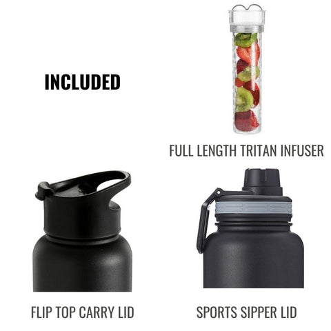Image of InstaCuppa Thermos Steel Fruit Infuser Water Bottle 1 Litre, Tritan Infusion Unit, FREE Recipe eBook, 2 Lids (Black)