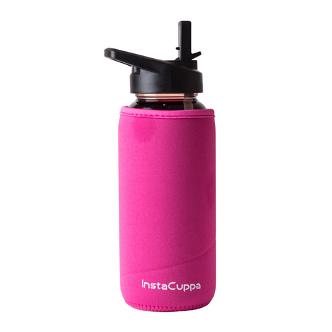 InstaCuppa Borosilicate Glass Water Bottle with Straw Sipper Lid, Innovative Time Markings, Neoprene Sleeve for Protection