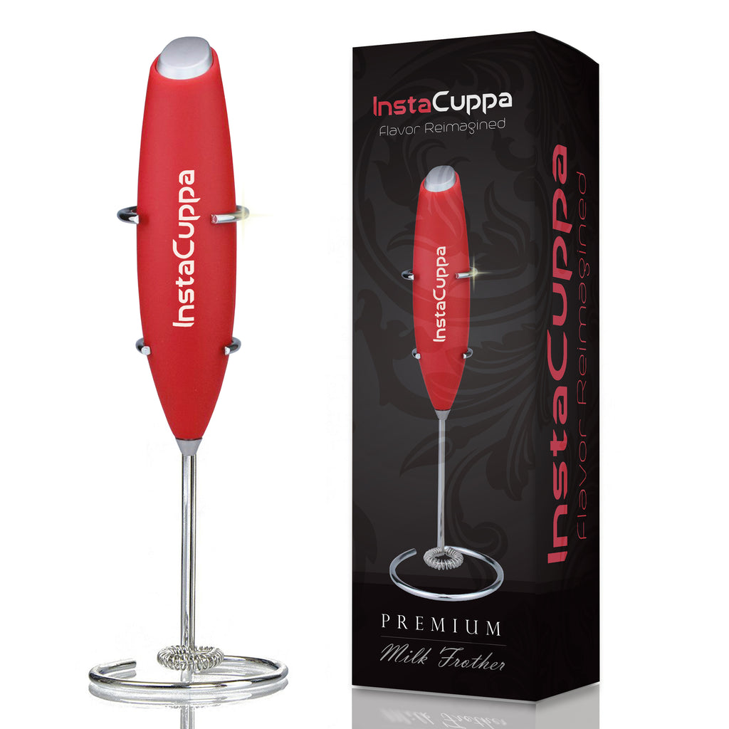 InstaCuppa Premium Handheld Milk Frother with Stand - Battery Operated Coffee Beater, Red Color