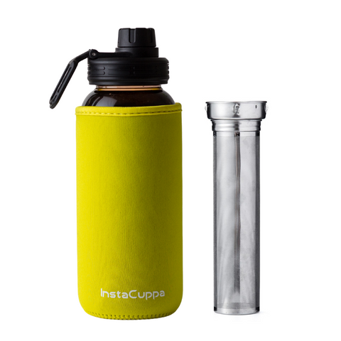 InstaCuppa Borosilicate Glass Water Bottle with Full Length Steel Infuser, Sports Sipper Lid, Time Markings, Neoprene Sleeve