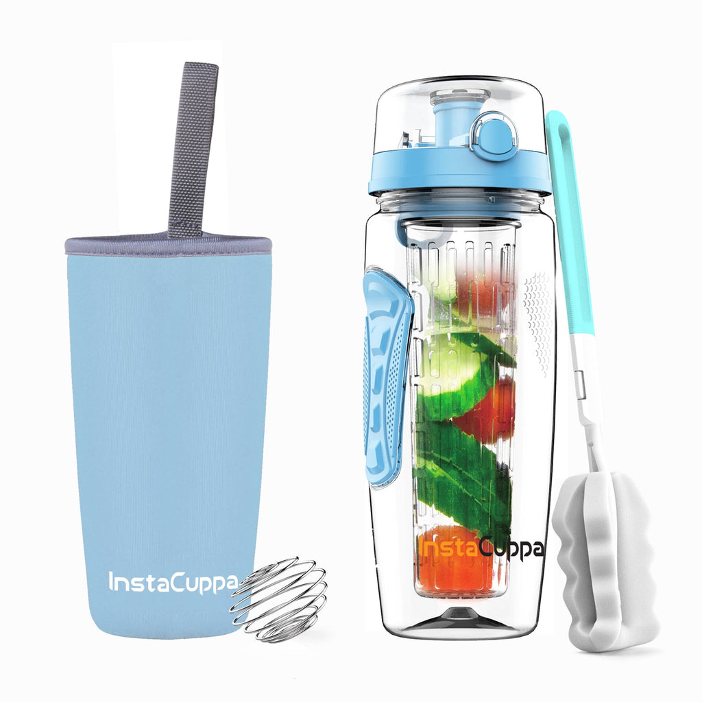 InstaCuppa Tritan Fruit Infuser Water Bottle 1 Litre - Full Length Edition