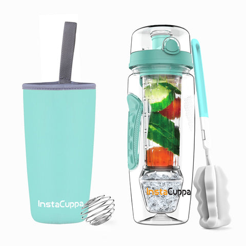 InstaCuppa Tritan Fruit Infuser Water Bottle with Polar Ice Ball Infuser, Flip Top Sipper Lid, Neoprene Sleeve, Detox Recipes eBook