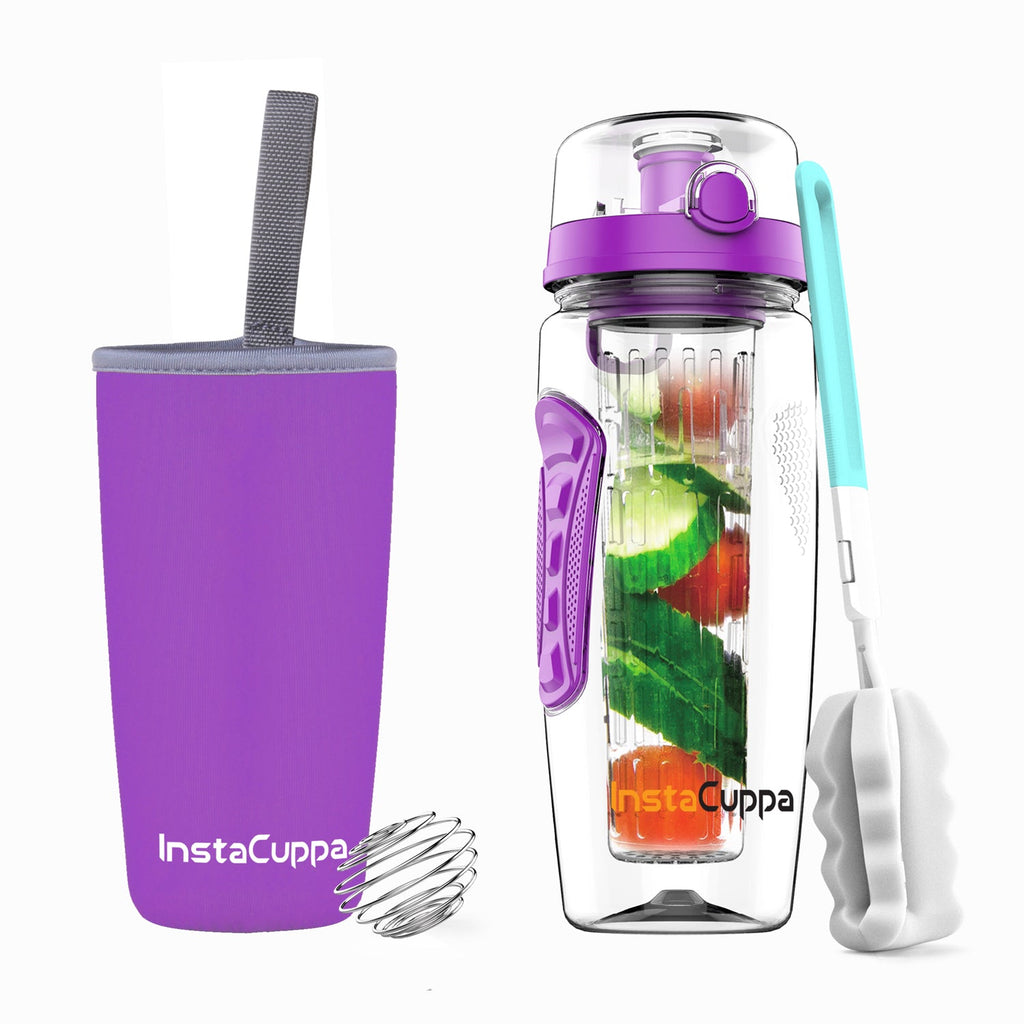 InstaCuppa Tritan Fruit Infuser Water Bottle 1 Litre - Full Length Edition 5 Variant colors available