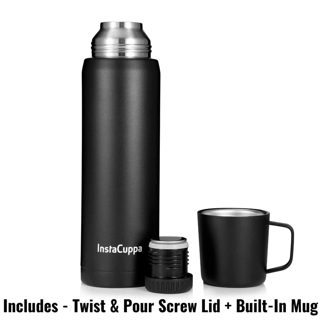 InstaCuppa Thermos Flask with Stainless Steel Mug and Twist Pour Stopper Screw Lid, Double Walled Vacuum Insulated Beverage Bottle, Premium Matte Finishing, 1000 ML, Black