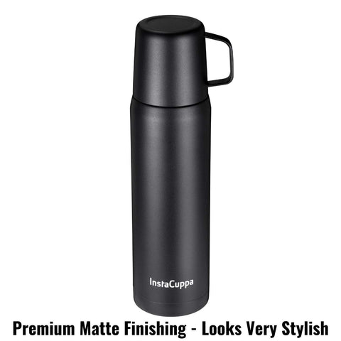 Image of InstaCuppa Thermos Flask with Stainless Steel Mug and Twist Pour Stopper Screw Lid, Double Walled Vacuum Insulated Beverage Bottle, Premium Matte Finishing, 1000 ML, Black