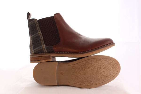 Ladies  Brown Leather Chelsea Boots with Tweed Heel - Philip James Shoes 3fe48a14eb67