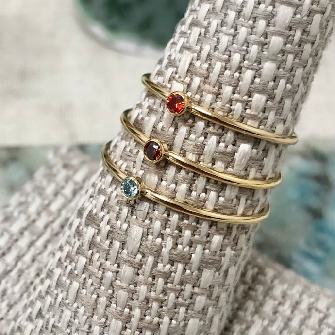 Birthstones Stacking Ring - 14k Gold - Assorted