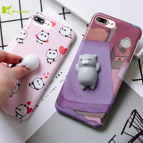 KL-BOUTIQUES Squish 3D Cat Panda Case For iPhone 7 7Plus 6S 6 Plus Soft Cartoon Toys Back Cover Silicone Stress Relieve Cases