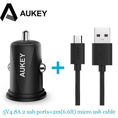 AUKEY Car-Charger 4.8A Universal Mini Dual USB Fast Car Charger For iPhone Samsung galaxy s8 Xiaomi mi5 redmi Car Phone Charger