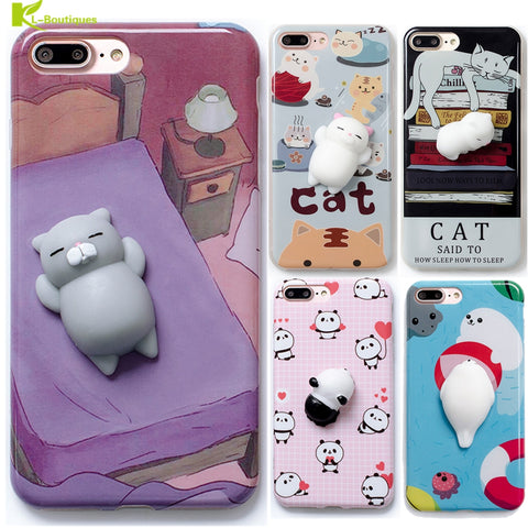 KL-BOUTIQUES Squish 3D Cat Panda Case For Fundas iPhone 7 6S 6 Plus Soft Cartoon Toys Back Cover Silicone Stress Relieve Cases
