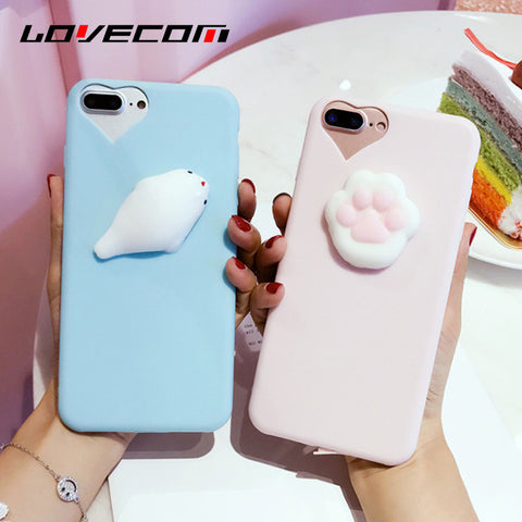 LOVECOM Phone Case For iPhone 5 5S SE 6 6S 7 Plus 3D Funny Squishy Toys Pressure Release Cute Seal Cat Claw Soft TPU Back Cover