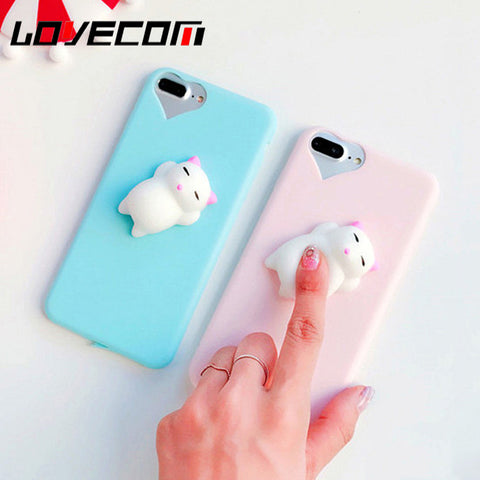 LOVECOM Phone Case For iPhone 5 5S SE 6 6S 7 Plus 3D Funny Squishy Toys Pressure Release Candy Soft TPU Heart Hole Back Cover