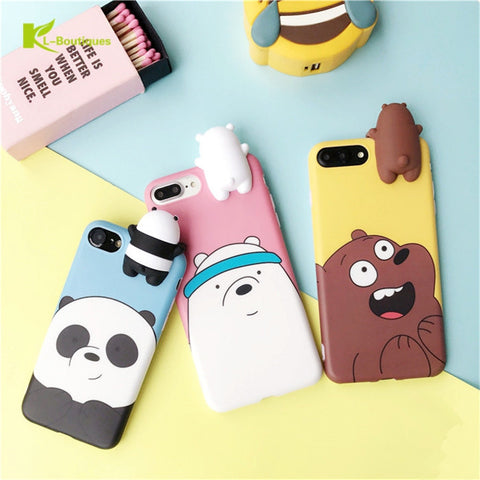 KL-BOUTIQUES 3D Silicon Dolls Toys Case For Fundas iPhone 7 7Plus 6 6S Plus Cute Three Bears Panda Cartoon Cover For iPhone7 IMD