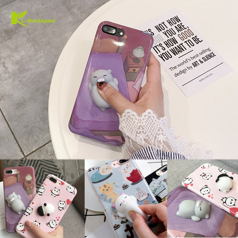 KL-BOUTIQUES 3D Squish Case For iPhone 7 7Plus 6S 6 Plus Soft IMD Cat Panda Cartoon Funny Decompression Toys Back Cover Silicone