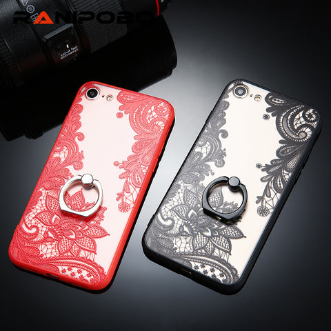 Sexy Lace Case For iPhone 7 7plus 6 6S 6Plus 5 5S Retro Vintage Floral Flower Printed With Ring Holder Phone Cases Cover