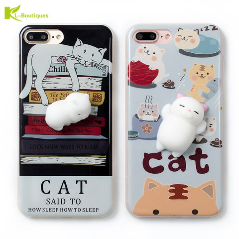 KL-BOUTIQUES Soft IMD Case For Coque iPhone 7 7Plus 6S 6 Plus + Lovely 3D Cartoon Cat Creative Toys Back Cover Silicone Fundas