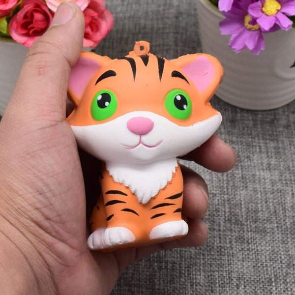 2017 New Arrivals 10CM Jumbo Animal Kawaii Squishy Tiger Doll Bread Squeeze Slow Rising Phone straps Soft Scented Cake Toys Gift