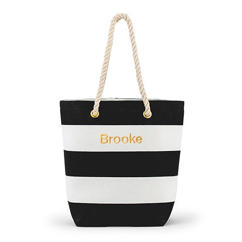 Bliss Striped Tote - Black And White