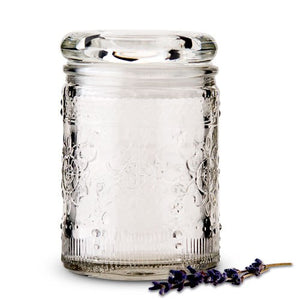 Floral Pressed Glass Mason Jar Favour With Stopper (6 pk)