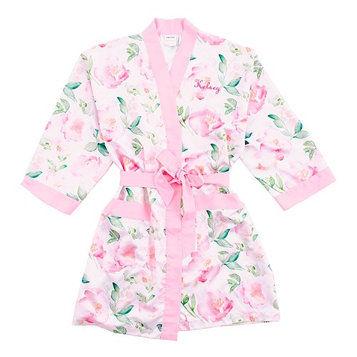 Pink Watercolour Floral Silky Kimono Robe On Pink