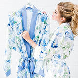 Blue Watercolour Floral Silky Kimono Robe On Blue
