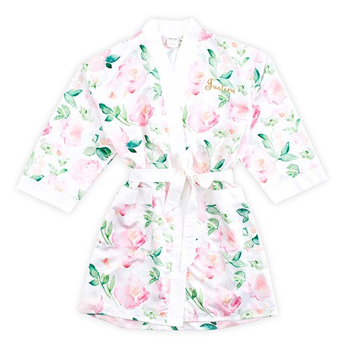 Pink Watercolour Floral Silky Kimono Robe On White