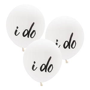 "Large White Round Wedding Balloons - ""I Do"" (3 pk)"