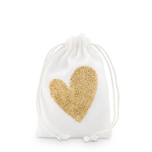 Gold Glitter Heart Muslin Drawstring Favour Bag - Small (12 pk)