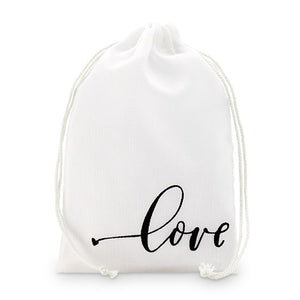 'love' Print Muslin Drawstring Favour Bag - Medium (12 pk)