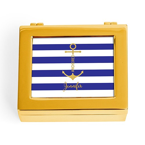 Small Modern Personalised Jewellery Box - Anchor On Stripes Print