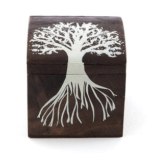 "Miniature Wooden Box With Lid ""Tree Design"" (6 pk)"