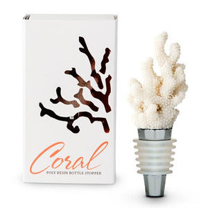 White Coral Wine Bottle Stopper Favour Gift Boxed