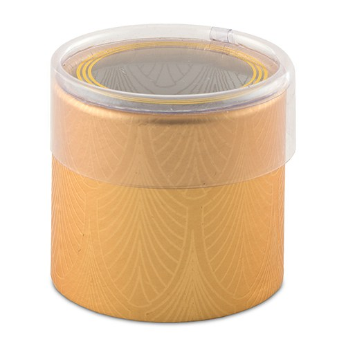 Art Deco Cylinder Boxes With Clear Lid - Gold (6 pk)