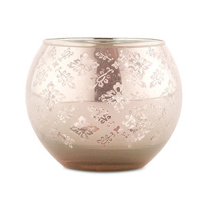 Large Glass Globe Votive Holder With Reflective Lace Pattern - Peach (4 pk)