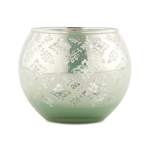 Large Glass Globe Votive Holder With Reflective Lace Pattern - Daiquiri Green (4 pk)