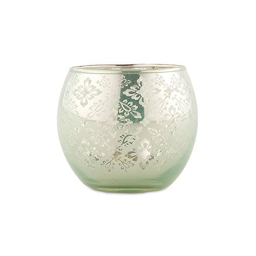 Small Glass Globe Votive Holder With Reflective Lace Pattern - Daiquiri Green (6 pk)